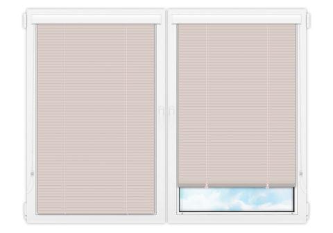 Жалюзи Изолайт 25 мм на пластиковые окна - цвет бледно-розовый