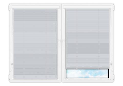 Жалюзи Изолайт 25 мм на пластиковые окна - цвет светло-голубой